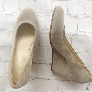 [Via Spiga] Tan Suede Wedge pumps rounded toe 6M